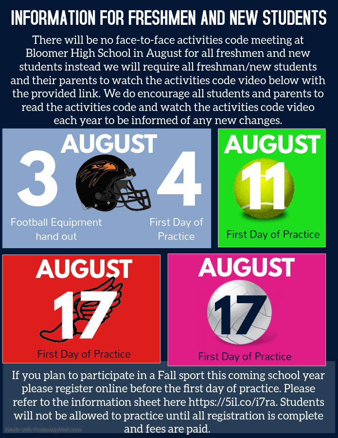 Important Information for incoming freshmen and new students regarding sports.