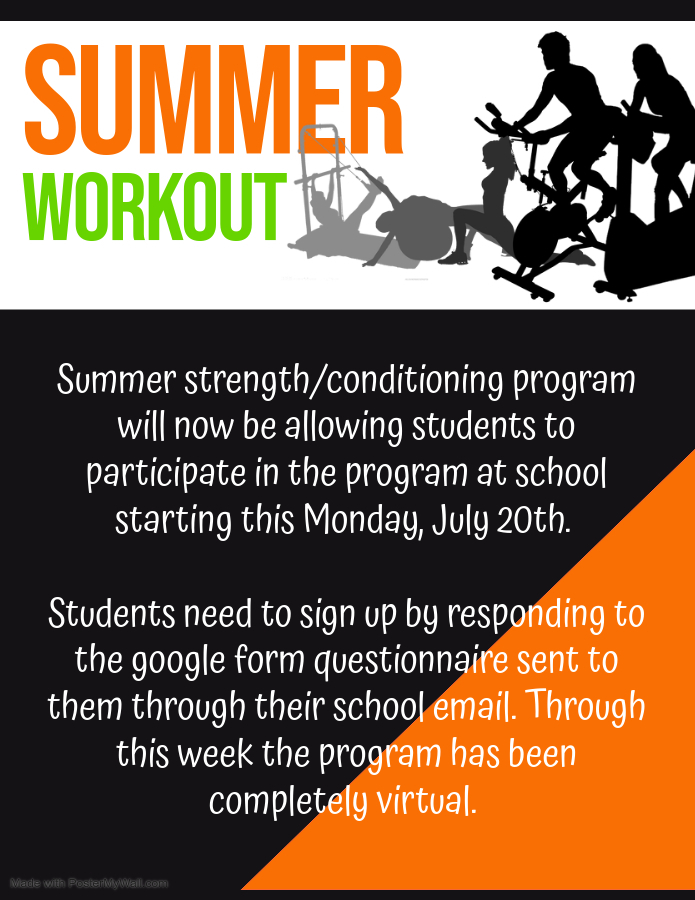 Reminder about summer workout.